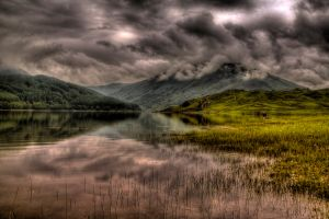 Dark clouds over Glen Finglas Reservoir, Scotland
