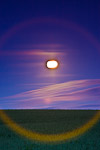 Full moon over the crop field